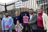 Glyn Roberts TUSC candidate supporters. General Election. Tower Hamlets Polling Station. East London. - Jess Hurd - 07-05-2015