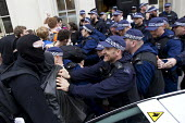 An illegal squat eviction by police in Mayfair. Anti austerity protests on the day of the Queens Speech and opening of Parliament. London. - Jess Hurd - Protest,Demonstration,CLJ,metropolitan police service,2015,2010s
