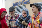 Protest by activists dressed as cold shivering pensioners outside British Gas, Oxford HQ against fuel poverty. Environmental activists delivered to British Gas Headquarters a Bill for funeral costs fo... - Jess Hurd - 2010s,2015,activist,activists,adult,adults,against,age,ageing population,anti,bill,bills,CAMPAIGN,campaigner,campaigners,CAMPAIGNING,CAMPAIGNS,cost of living,costume,costumes,DEMONSTRATING,Demonstrati