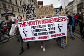 The North Remembers Peterloo 1819, Liverpool 1911, The Miners 1984 banner, Peoples Assembly Against Austerity protest against cuts in anti-austerity march. London. - Jess Hurd - 20-06-2015