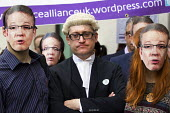 Lawyers protest against cuts in Legal Aid, Westminster Magistrates Court. London. - Jess Hurd - 2010s,2015,activist,activists,against,Austerity Cuts,CAMPAIGN,campaigner,campaigners,CAMPAIGNING,CAMPAIGNS,cuts,DEMONSTRATING,Demonstration,DEMONSTRATIONS,gown,gowns,Haldane Society of Socialist Lawye