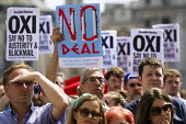 Solidarity With the Greek People, No to Austerity. No, OXI rally against austerity imposed by the Troika. Trafalgar Square. London. - Jess Hurd - 04-07-2015