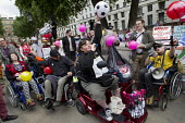 Balls To The Budget, Disabled People Against Cuts throwing balls at Downing Street as George Osborne leaves to deliver his budget to Parliament, Westminster, London - Jess Hurd - 08-07-2015