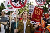Oxi to Osborne. Anti austerity protests on the day of the budget. Organised by The Peoples Assembly. Westminster. London. - Jess Hurd - 08-07-2015
