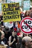 Anti austerity protest on the day of the budget. Organised by The Peoples Assembly. Westminster. London. - Jess Hurd - 08-07-2015