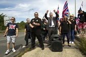 Paul Golding, Britain First oppose Folkestone United, Stop Tunnel Deaths. Protest against migrant rights. Eurotunnel, Folkestone. Kent. - Jess Hurd - 01-08-2015