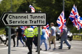 Folkestone United, Stop Tunnel Deaths. Protest against migrant rights. Eurotunnel, Folkestone. Kent. - Jess Hurd - 01-08-2015
