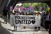 Folkestone United, Stop Tunnel Deaths. Protest supporting migrant rights. Eurotunnel, Folkestone. Kent. - Jess Hurd - 01-08-2015
