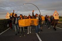 Migrants protest that UK open the border Calais Eurostar Terminal France - Jess Hurd - 2010s,2015,activist,activists,asylum seeker,asylum seeker,BME black,border,border control,border controls,borders,CAMPAIGN,campaigner,campaigners,CAMPAIGNING,CAMPAIGNS,crisis,DEMONSTRATING,DEMONSTRATI