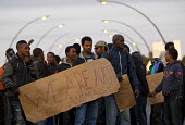 Migrants protest that UK open the border Calais Eurostar Terminal France - Jess Hurd - 07-08-2015