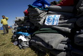 Piles of UNHCR blankets at the Opatovak refugee camp. Croatia. - Jess Hurd - 23-09-2015