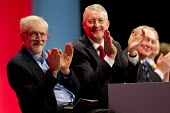 Jeremy Corbyn and Hilary Benn MP. Labour Party Conference, Brighton. - Jess Hurd - 2010s,2015,applauding,applause,conference,conferences,EMOTION,EMOTIONAL,EMOTIONS,Jeremy Corbyn,Labour Party,Party,POL,political,POLITICIAN,POLITICIANS,Politics,smile,SMILES,smiling,WELLBEING