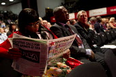 Delegate reads Morning Star at Labour Party Conference Brighton. - Jess Hurd - 2010s,2015,BAME,BAMEs,Black,BME,bmes,communism,Communist Party,communists,conference,conferences,Delegate,DELEGATES,diversity,ethnic,ethnicity,FEMALE,Labour Party,minorities,minority,Morning,newspaper
