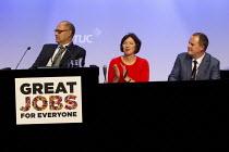 Leslie Manasseh Pres Prospect, Frances O'Grady, Paul Nowak. TUC conference Brighton. - Jess Hurd - 16-09-2015