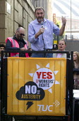 Kevin Courtney, NUT speaking TUC march against austerity cuts and unfair Trade Union Bill, Conservative Party Conference, Manchester. - Jess Hurd - 04-10-2015