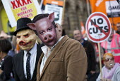 Cameron pig mask TUC march against austerity cuts and unfair Trade Union Bill, Conservative Party Conference, Manchester. - Jess Hurd - 04-10-2015