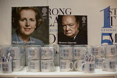 Margaret Thatcher and Winston Churchill stamps. Merchandise mugs Conservative Party Conference, Manchester. - Jess Hurd - 2010s,2015,ACE,Arts,artwork,artworks,buy,buyer,buyers,buying,commodities,commodity,conference,conferences,CONSERVATIVE,Conservative Party,conservatives,Culture,FEMALE,goods,head,Margaret Thatcher,Merc