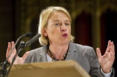 Natalie Bennett MEP speaking at the People's Post CWU rally Manchester Cathedral during Conservative Party Conference. - Jess Hurd - 05-10-2015