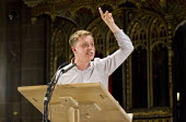 Journalist and campaigner Owen Jones speaking at the People's Post CWU rally Manchester Cathedral during Conservative Party Conference. - Jess Hurd - 05-10-2015