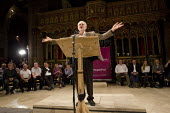 Jeremy Corbyn MP speaking at the People's Post CWU rally, Manchester Cathedral during Conservative Party Conference. - Jess Hurd - 05-10-2015