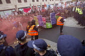 Scuffles outside the Department for Business, Innovation and Skills. National Student protest against fees and cuts, London. - Jess Hurd - 04-11-2015