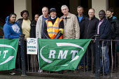 Docklands Light Railway RMT strike against understaffing and bullying of members working for Amey Docklands. Poplar DLR Station. East London. - Jess Hurd - 04-11-2015