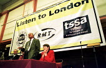 Ken Livingstone MP Labour & Glenda Jackson MP Labour addressing a joint RMT, ASLEF, TSSA meeting on the London Labour Mayor election Friends Meeting House: Listen To London against privatisation of Lo... - Jess Hurd - 15-11-1999