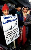 One year on, pickets Lufthansa Skychefs. 270 workers sacked for one day strike Heathrow airport. Mainly Asian TGWU - Jess Hurd - 1990s,1999,activist,activists,Asian,Asian Asians,at,black,BME black,BME Black minority ethnic,boy boys,CAMPAIGN,campaigner,campaigners,CAMPAIGNING,CAMPAIGNS,children child,DEMONSTRATING,demonstration,