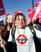 National student demonstration. Protest called by NUS against student hardship, tuition fees and debt - Jess Hurd - ,1990s,1999,activist,activists,adolescence,adolescent,adolescents,against,CAMPAIGN,campaigner,campaigners,CAMPAIGNING,CAMPAIGNS,DEMONSTRATING,DEMONSTRATION,DEMONSTRATIONS,FE,finance,FINANCIAL,Further