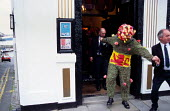 The Burry Man leaves The Staghead Hotel, South Queensferry, Scotland. - James Jenkins - 09-08-2002