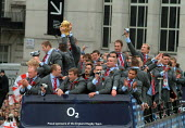 England rugby team at their Rugby World Cup London Victory Parade, Trafalgar Square, London. - James Jenkins - 08-12-2003