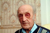 Old age pensioner who was mugged and beaten for his car while parking it in his garage, Brixton, London. - James Jenkins - 07-11-2003