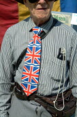 """BNP supporter, British National Party """"Red, White & Blue"""" festival, Sawley, Lancashire. - James Jenkins - 16-08-2003"""