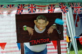 """Sponges being thrown at Tony Blair mock-up, British National Party """"Red, White & Blue"""" festival, Sawley, Lancashire. - James Jenkins - 16-08-2003"""