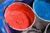 Pots of red and blue powdered poster paint, in an Art lesson at a secondary school. - Paul Carter - 2000s,2007,ACE arts,art,blue,COLOR,colorful,colorfull,colors,colour,colourful,colours,edu,EDU education,educate,educating,education,educational,equipment,knowledge,learn,learner,learners,learning,pain