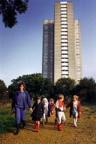 Young children and teacher during an urban nature walk. - Paul Carter - 05-10-1987