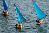 Three sailing boats on a river, wind billowing in the sails. - Paul Carter - 09-09-2003