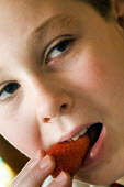 A boy eating a strawberry. - Paul Carter - 2000s,2006,adolescence,adolescent,adolescents,bite,biting,boy,BOYS,child,CHILDHOOD,children,close,deserts,diet,dietary,diets,eat,eating,EMOTION,EMOTIONAL,EMOTIONS,FEMALE,food,FOODS,fresh,fruit,FRUITS,