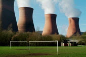 Views of the cooling towers of Ironbridge Coal fired Power Station, Shropshire. - Paul Carter - 2000s,2004,Air Pollution,capitalism,capitalist,chimney,chimneys,cloud,clouds,Coal,Cooling Towers,country,countryside,EBF Economy,electric,electrical,electricity,emission,emissions,energy,ENI environme