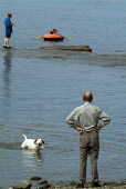 Man playing fetch with his dog on the beach. Dorset - Paul Carter - 03-08-2004