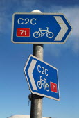 Cycle route signpost. The Lake District. - Paul Carter - 2000s,2004,bicycle,bicycles,BICYCLING,Bicyclist,Bicyclists,bike,bikes,communicating,communication,conservation,Council Services,Council Services,country,countryside,cycle,cycles,cycleway,cycling,Cycli