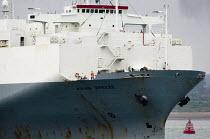 UECC car transporter ship entering Southampton harbour docks - Paul Carter - 2000s,2006,AUTO,AUTOMOBILE,AUTOMOBILES,AUTOMOTIVE,boat,boats,bow,bridge,buoy,capitalism,capitalist,car,cargo,CARS,craft,crew,crewman,crewmen,crewmenmaritime,deck,dock,docks,EBF,EBF economy,Economic,Ec
