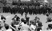 Battle of Orgreave 1984. Police charging NUM mass picket, Orgreave Coke Works, near Sheffield, Yorkshire - John Sturrock - 1980s,1984,adult,adults,Battle of Orgreave,charging,DISPUTE,DISPUTES,force,line,lines,male,man,mass,mass picket,member,member members,members,men,MINER,miners,miner's,miners strike,miner's strike,num,
