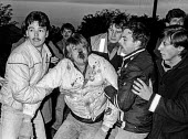 Picket injured by police, Miners Strike. Brodsworth colliery, South Yorkshire - John Sturrock - ,1980s,1984,activist,activists,adult,adults,blood bleeding,CAMPAIGN,campaigner,campaigners,CAMPAIGNING,CAMPAIGNS,CLJ,colleague colleagues,collieries,colliery,DEMONSTRATING,DEMONSTRATION,DEMONSTRATIONS