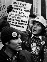 Lobby of NUM delegates by miners over strikers dismissed during the miners strike. - John Sturrock - 1980s,1985,conference,conferences,congress,DELEGATE,delegates,disputes,helmet helmets,INDUSTRIAL DISPUTE,Lobby,man men,member,member members,members,men man,MINER,miner miners,miners,MINER'S,miner's s