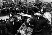 The Miners Strike, police arresting a miner, NUM executive meeting, Sheffield, Yorkshire - John Sturrock - 1980s,1984,activist,activists,adult,adults,arrest,arrest arresting,arrested,arresting,CAMPAIGN,campaigner,campaigners,CAMPAIGNING,CAMPAIGNS,CLJ,coal,DEMONSTRATING,DEMONSTRATION,DEMONSTRATIONS,disputes