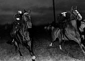 Miners Strike, Brodsworth nr Doncaster, Police horses charge to disperse picket against strike breakers at dawn. - John Sturrock - 1980s,1984,adult,adults,against,animal,animal animals,animals,at,CLJ,DISPUTE,DISPUTES,domesticated ungulate,domesticated ungulates,early morning,equestrian,equine,force,horse,horse horses,horses,INDUS