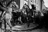 Miners strike, Orgreave picket being attacked by mounted officers. - John Sturrock - 1980s,1984,adult,adults,animal,animal animals,animals,attack attacks,Battle of Orgreave,BSC,CLJ,coke works,coking plant,conflict,conflicts,DISPUTE,DISPUTES,domesticated ungulate,domesticated ungulates