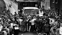 NUM pickets stop coal wagon approaching Wivenhoe Port, near Colchester. - John Sturrock - 10-04-1984