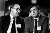 John Smith and Gordon Brown, Labour Party Conference 1988 - John Sturrock - 1980s,1988,communicating,communication,Conference,conferences,conversation,dialogue,Labour Party,male,man,men,mp,mps,Party,people,person,persons,pol politics,politician,politicians,talk,talking